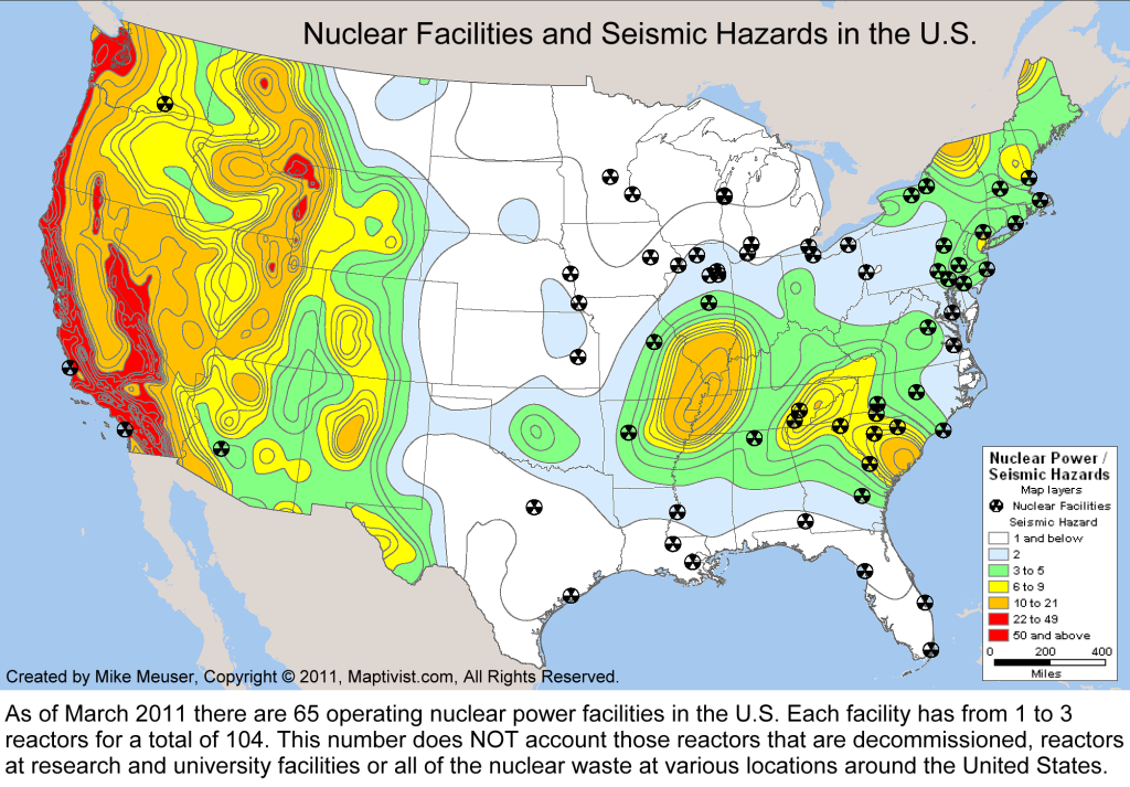 Nuclear reactors overlapping seismic areas
