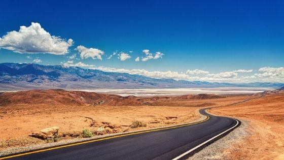 Winding road through a desert