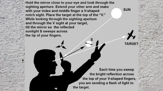 V Finger Method for Signal Mirror Sighting