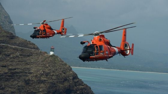 Search and Rescue Helicopters looking for a signal mirror flash