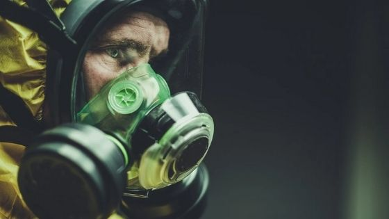 Gas mask with chemical suit